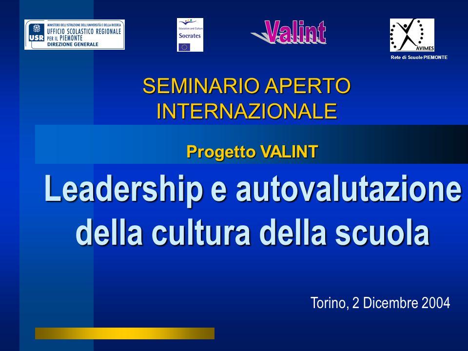 SEMINARIO APERTO INTERNAZIONALE Leadership e autovalutazione della cultura della scuola Rete di Scuole PIEMONTE Torino, 2 Dicembre 2004 Progetto VALIN