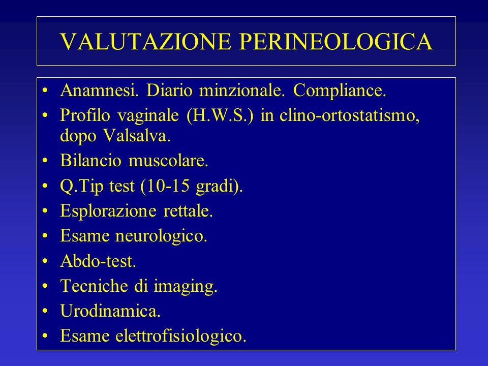 VALUTAZIONE PERINEOLOGICA Anamnesi. Diario minzionale. Compliance. Profilo vaginale (H.W.S.) in clino-ortostatismo, dopo Valsalva. Bilancio muscolare.
