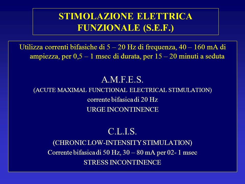 Utilizza correnti bifasiche di 5 – 20 Hz di frequenza, 40 – 160 mA di ampiezza, per 0,5 – 1 msec di durata, per 15 – 20 minuti a seduta A.M.F.E.S. (AC
