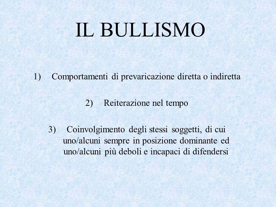 IL BULLISMO 1)Comportamenti di prevaricazione diretta o indiretta 2)Reiterazione nel tempo 3)Coinvolgimento degli stessi soggetti, di cui uno/alcuni s