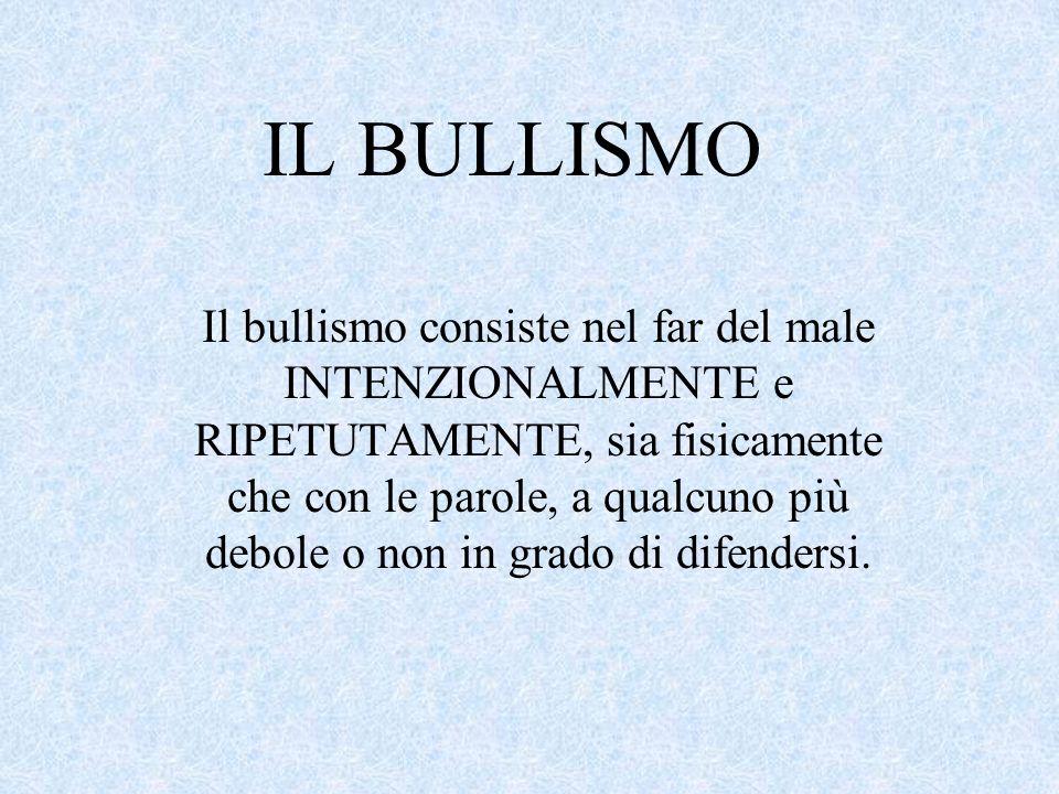 IL BULLISMO Il bullismo consiste nel far del male INTENZIONALMENTE e RIPETUTAMENTE, sia fisicamente che con le parole, a qualcuno più debole o non in