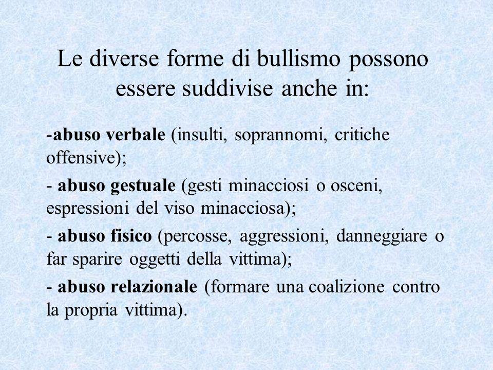 Le diverse forme di bullismo possono essere suddivise anche in: -abuso verbale (insulti, soprannomi, critiche offensive); - abuso gestuale (gesti mina