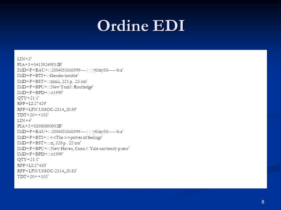 8 Ordine EDI LIN+3 PIA+5+0415924995:IB IMD+F+BAU+:::20040510d1999----|||y0itay50------b:a IMD+F+BTI+:::Gender trouble IMD+F+BST+:::xxxiii, 221 p..