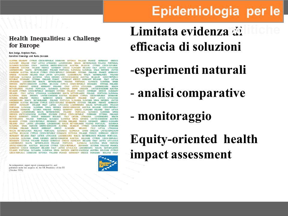 Limitata evidenza di efficacia di soluzioni -esperimenti naturali - analisi comparative - monitoraggio Equity-oriented health impact assessment Epidem