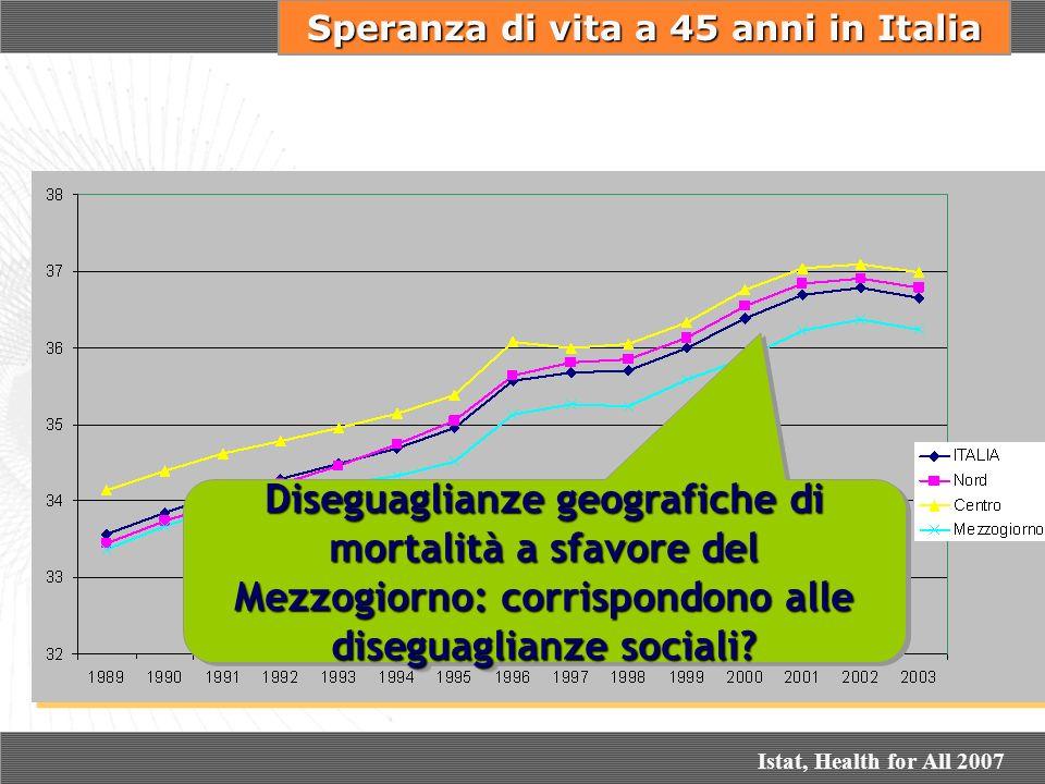 Speranza di vita a 45 anni in Italia Diseguaglianze geografiche di mortalità a sfavore del Mezzogiorno: corrispondono alle diseguaglianze sociali? Ist