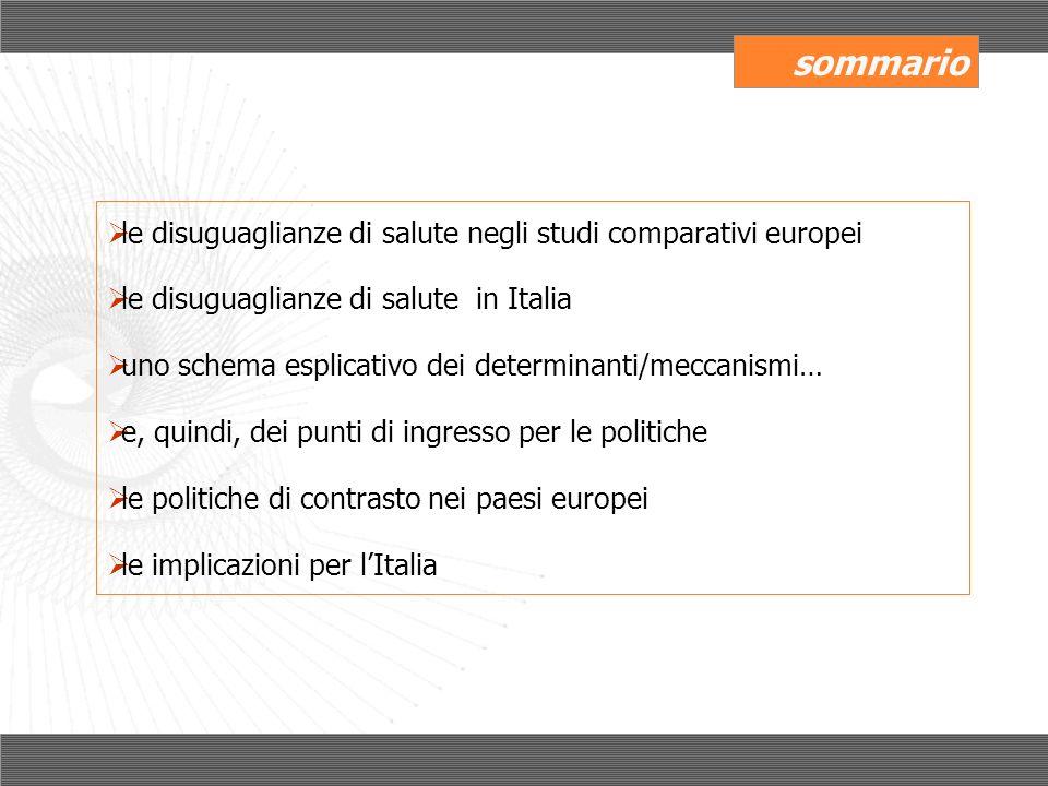 p< 0,05 Diseguaglianze sociali e geografiche di salute in Italia, odds ratio controllati per età e sesso Lo svantaggio sociale nelle sue varie dimensioni è il principale predittore della salute Le differenze geografiche nella salute si riducono se si tiene in considerazione lo svantaggio sociale Indagine multiscopo ISTAT su salute, 2004-2005