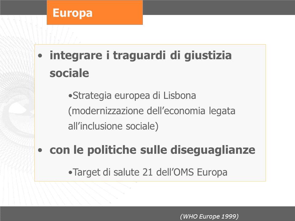 Europa integrare i traguardi di giustizia sociale Strategia europea di Lisbona (modernizzazione delleconomia legata allinclusione sociale) con le poli
