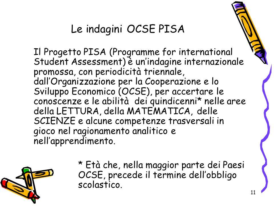 11 Le indagini OCSE PISA Il Progetto PISA (Programme for international Student Assessment) è unindagine internazionale promossa, con periodicità trien