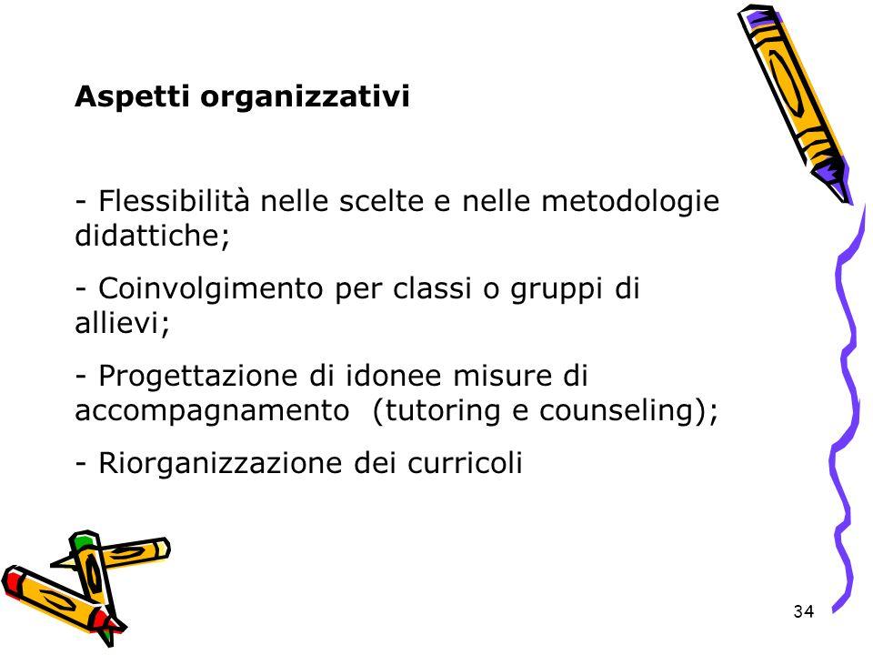 34 Aspetti organizzativi - Flessibilità nelle scelte e nelle metodologie didattiche; - Coinvolgimento per classi o gruppi di allievi; - Progettazione