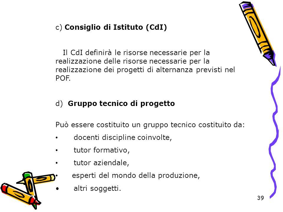 39 c) Consiglio di Istituto (CdI) Il CdI definirà le risorse necessarie per la realizzazione delle risorse necessarie per la realizzazione dei progett