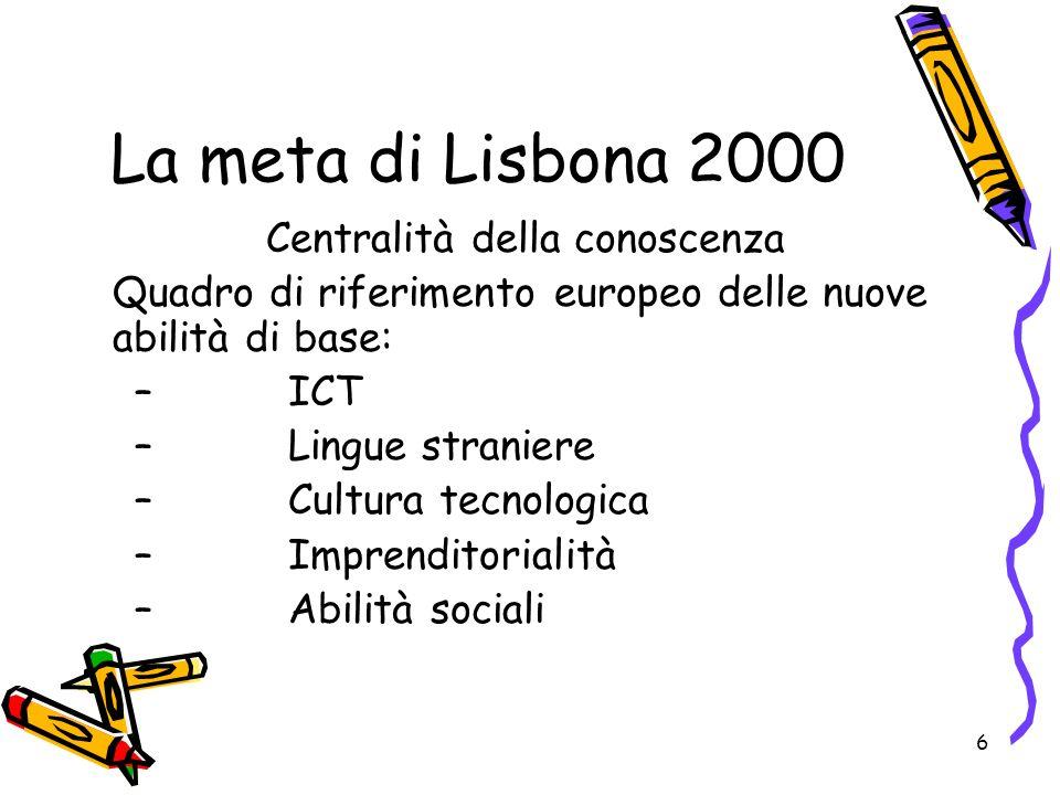 6 La meta di Lisbona 2000 Centralità della conoscenza Quadro di riferimento europeo delle nuove abilità di base: –ICT –Lingue straniere –Cultura tecno