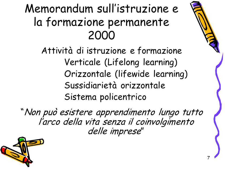 7 Memorandum sullistruzione e la formazione permanente 2000 Attività di istruzione e formazione Verticale (Lifelong learning) Orizzontale (lifewide le