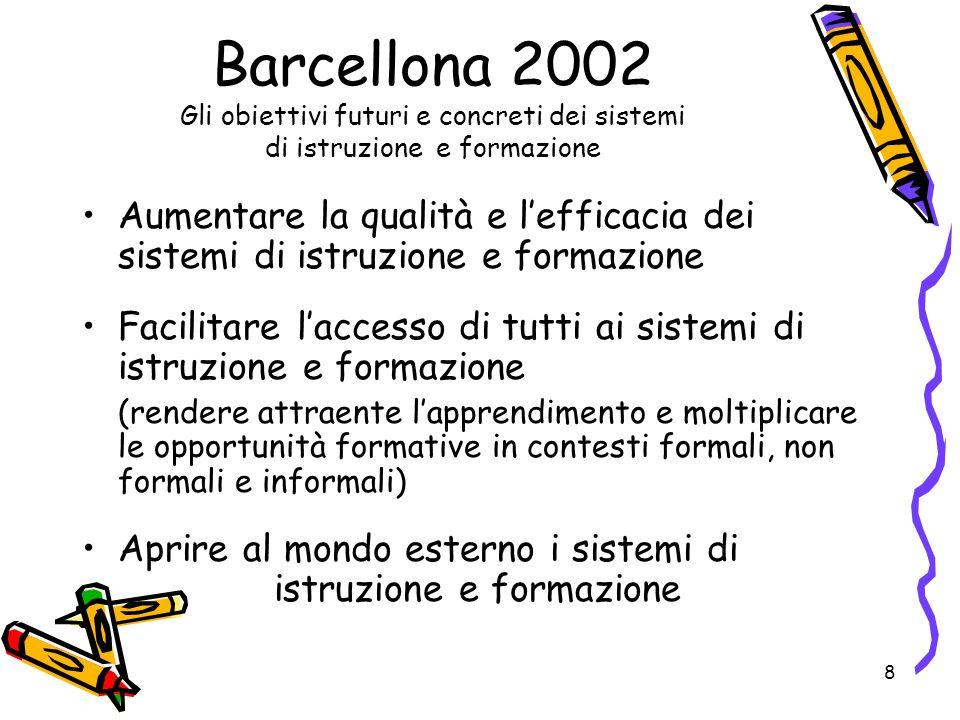 8 Barcellona 2002 Gli obiettivi futuri e concreti dei sistemi di istruzione e formazione Aumentare la qualità e lefficacia dei sistemi di istruzione e