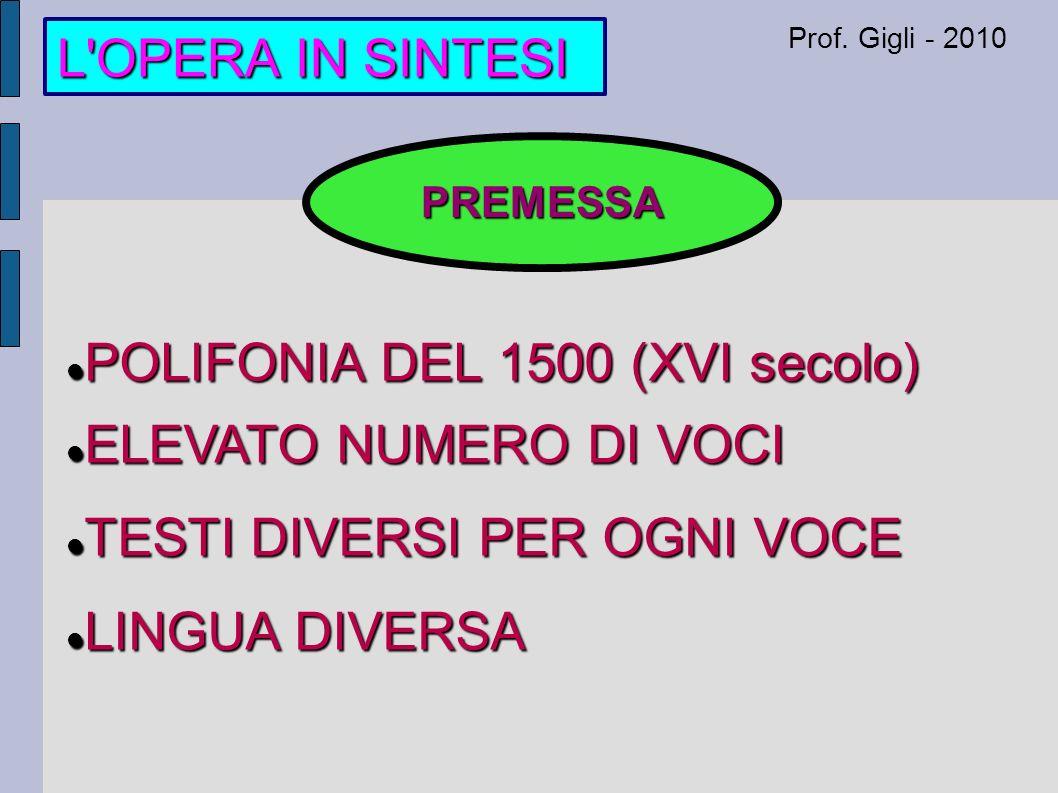 L OPERA IN SINTESI Prof.
