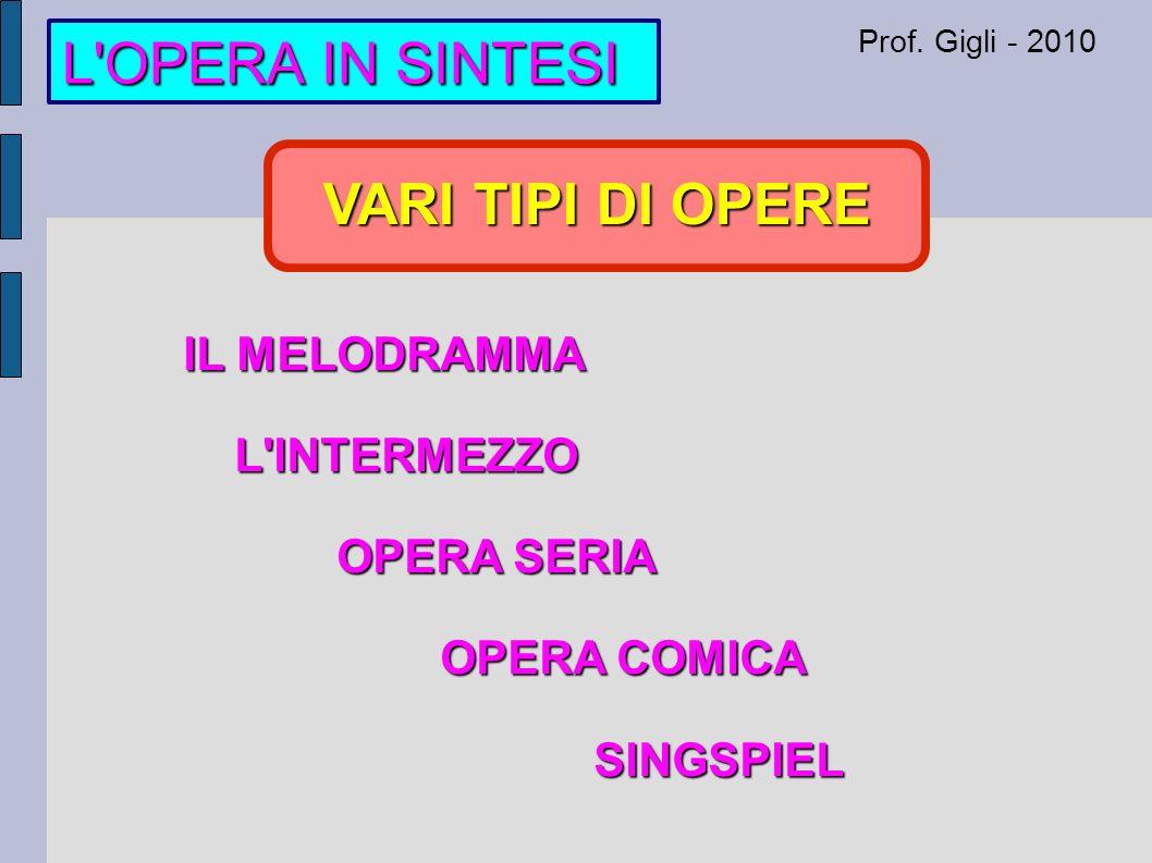 Prof. Gigli - 2010 VARI TIPI DI OPERE IL MELODRAMMA L INTERMEZZO OPERA SERIA OPERA COMICA SINGSPIEL