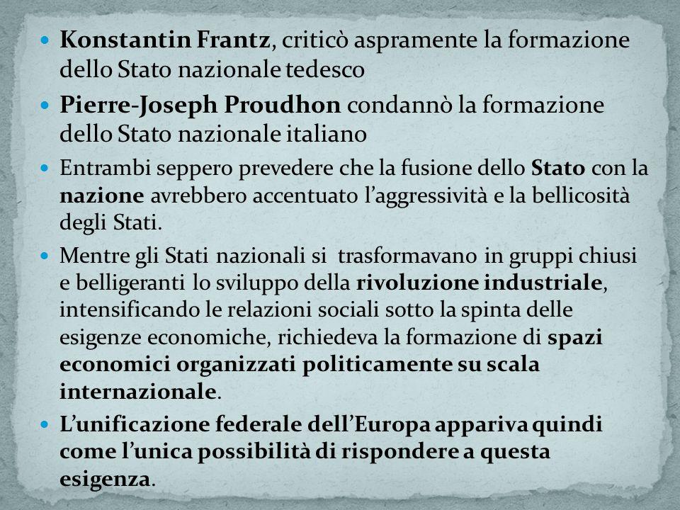 Konstantin Frantz, criticò aspramente la formazione dello Stato nazionale tedesco Pierre-Joseph Proudhon condannò la formazione dello Stato nazionale italiano Entrambi seppero prevedere che la fusione dello Stato con la nazione avrebbero accentuato laggressività e la bellicosità degli Stati.