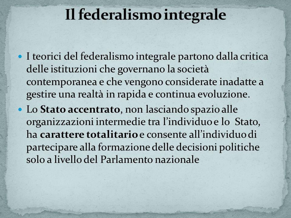 I teorici del federalismo integrale partono dalla critica delle istituzioni che governano la società contemporanea e che vengono considerate inadatte a gestire una realtà in rapida e continua evoluzione.
