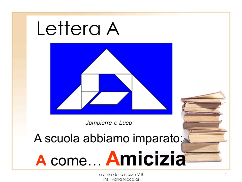 a cura della classe V B Ins: Ivana Niccolai 2 Lettera A Jampierre e Luca A scuola abbiamo imparato: A come… Amicizia