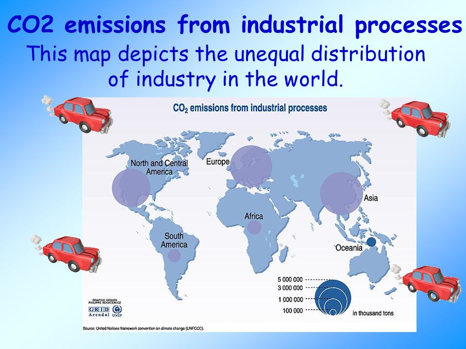CO2 emissions from industrial processes This map depicts the unequal distribution of industry in the world.