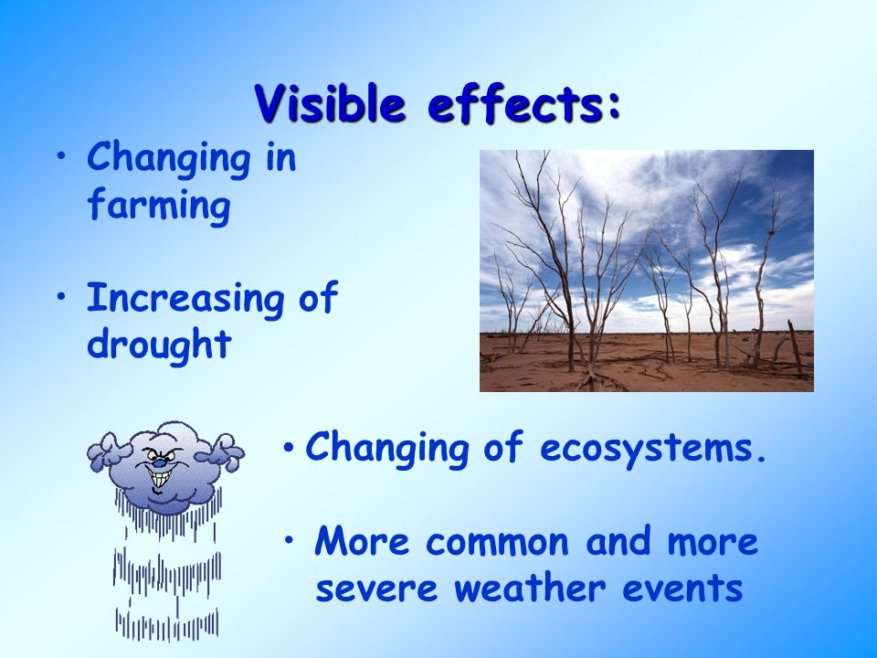 Visible effects: Changing in farming Increasing of drought Changing of ecosystems.