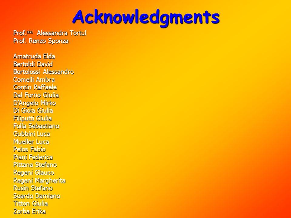 Acknowledgments Prof. ssa Alessandra Tortul Prof. Renzo Sponza Amatruda Elda Bertoldi David Bortolossi Alessandro Comelli Ambra Contin Raffaele Dal Fo