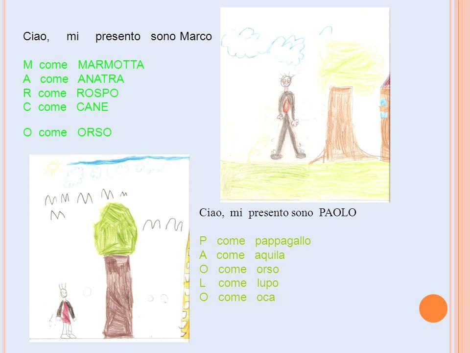 Ciao, mi presento sono Marco M come MARMOTTA A come ANATRA R come ROSPO C come CANE O come ORSO Ciao, mi presento sono PAOLO P come pappagallo A come