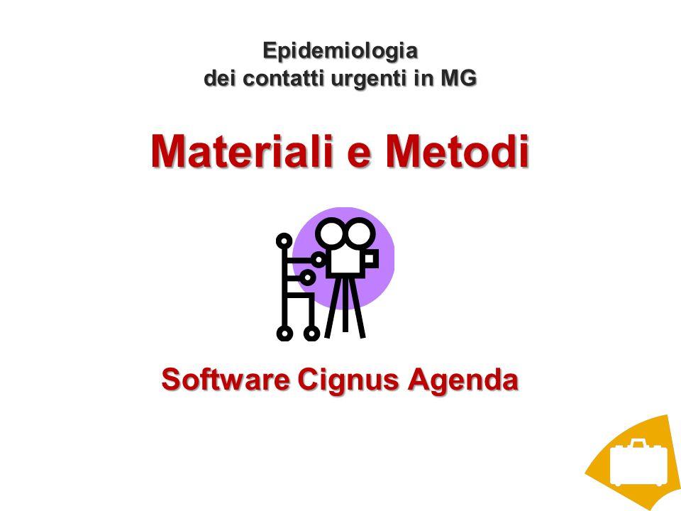 Epidemiologia dei contatti urgenti in MG Materiali e Metodi Software Cignus Agenda