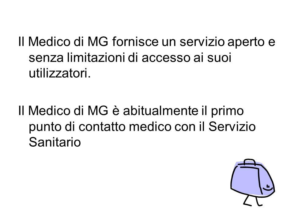 Il Medico di MG fornisce un servizio aperto e senza limitazioni di accesso ai suoi utilizzatori. Il Medico di MG è abitualmente il primo punto di cont