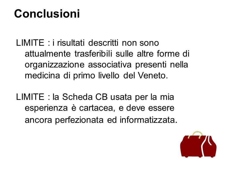 Conclusioni LIMITE : i risultati descritti non sono attualmente trasferibili sulle altre forme di organizzazione associativa presenti nella medicina di primo livello del Veneto.