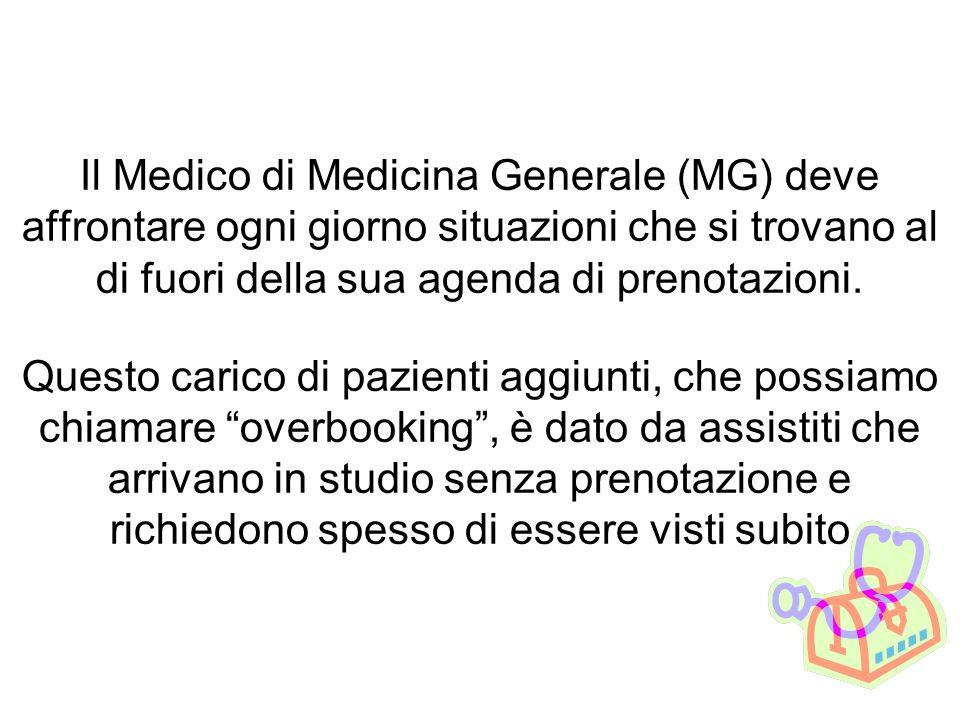 Il Medico di Medicina Generale (MG) deve affrontare ogni giorno situazioni che si trovano al di fuori della sua agenda di prenotazioni. Questo carico
