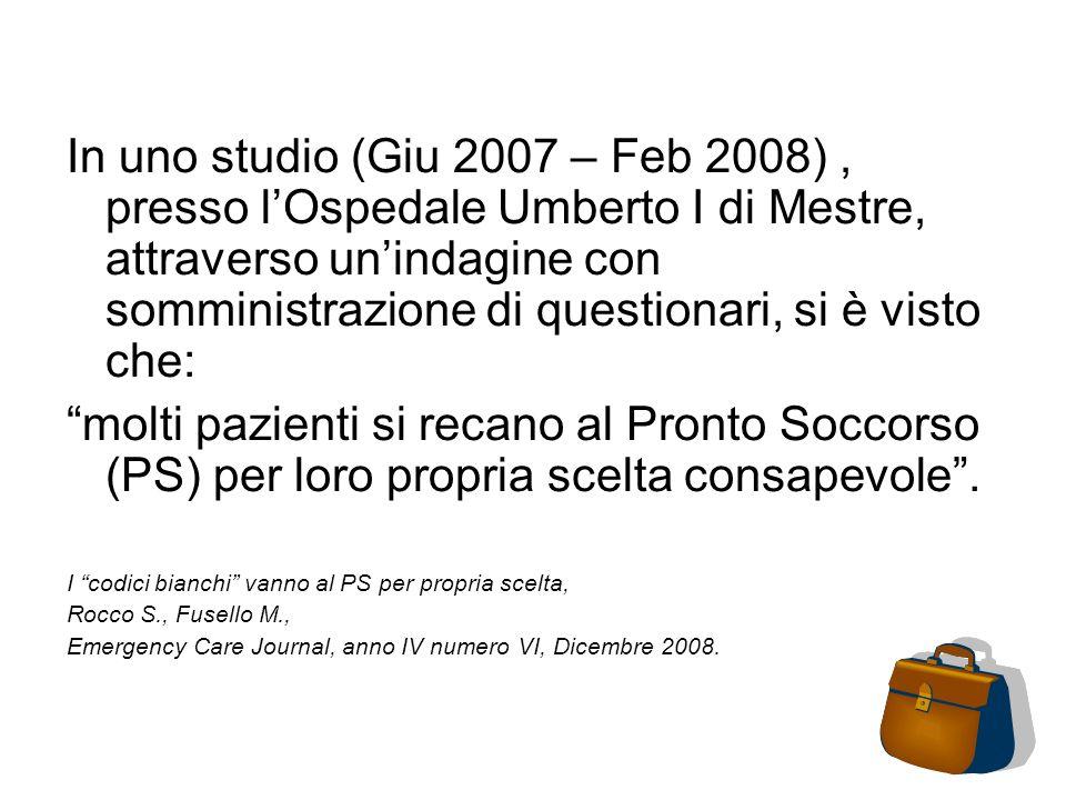 In uno studio (Giu 2007 – Feb 2008), presso lOspedale Umberto I di Mestre, attraverso unindagine con somministrazione di questionari, si è visto che: