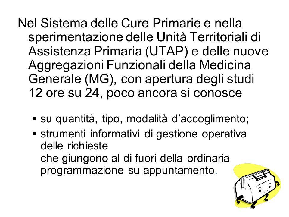 Nel Sistema delle Cure Primarie e nella sperimentazione delle Unità Territoriali di Assistenza Primaria (UTAP) e delle nuove Aggregazioni Funzionali d