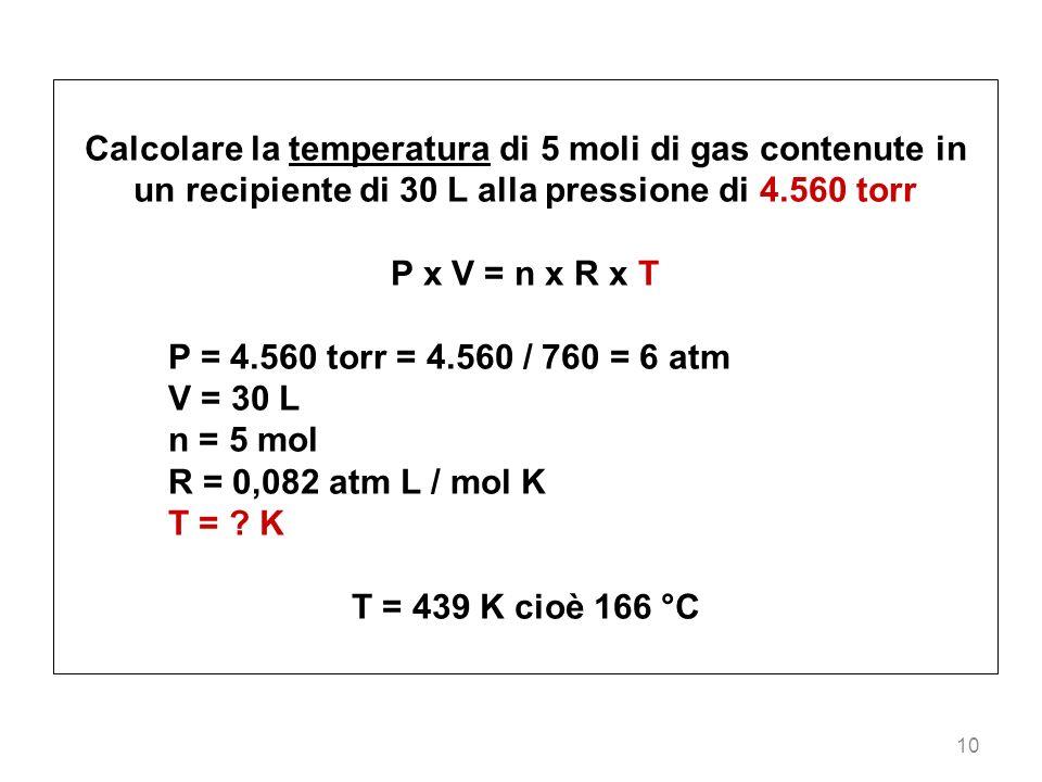 10 Calcolare la temperatura di 5 moli di gas contenute in un recipiente di 30 L alla pressione di 4.560 torr P x V = n x R x T P = 4.560 torr = 4.560