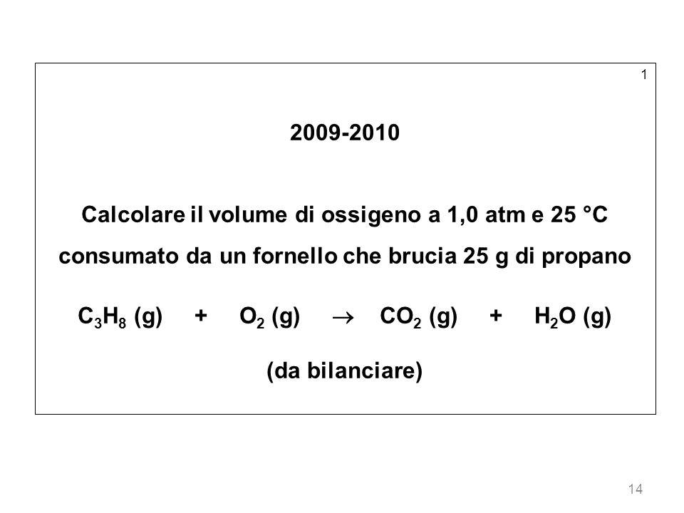 14 1 2009-2010 Calcolare il volume di ossigeno a 1,0 atm e 25 °C consumato da un fornello che brucia 25 g di propano C 3 H 8 (g) + O 2 (g) CO 2 (g) +