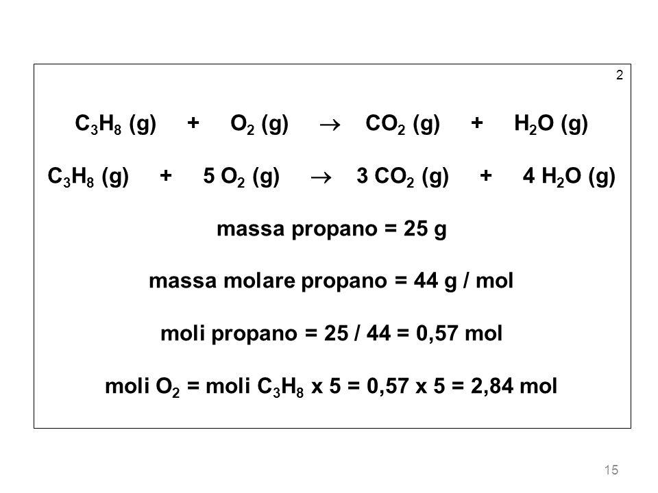 15 2 C 3 H 8 (g) + O 2 (g) CO 2 (g) + H 2 O (g) C 3 H 8 (g) + 5 O 2 (g) 3 CO 2 (g) + 4 H 2 O (g) massa propano = 25 g massa molare propano = 44 g / mo