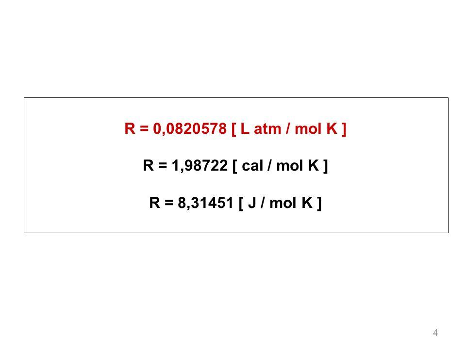 4 R = 0,0820578 [ L atm / mol K ] R = 1,98722 [ cal / mol K ] R = 8,31451 [ J / mol K ]