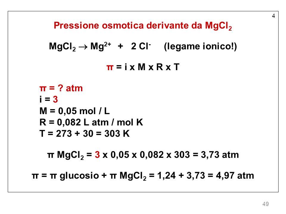 49 4 Pressione osmotica derivante da MgCl 2 MgCl 2 Mg 2+ + 2 Cl - (legame ionico!) π = i x M x R x T π = ? atm i = 3 M = 0,05 mol / L R = 0,082 L atm