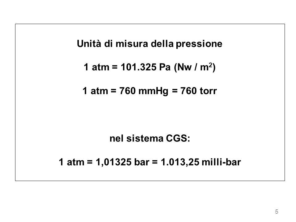 5 Unità di misura della pressione 1 atm = 101.325 Pa (Nw / m 2 ) 1 atm = 760 mmHg = 760 torr nel sistema CGS: 1 atm = 1,01325 bar = 1.013,25 milli-bar