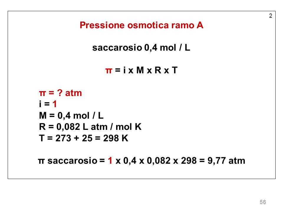 56 2 Pressione osmotica ramo A saccarosio 0,4 mol / L π = i x M x R x T π = ? atm i = 1 M = 0,4 mol / L R = 0,082 L atm / mol K T = 273 + 25 = 298 K π
