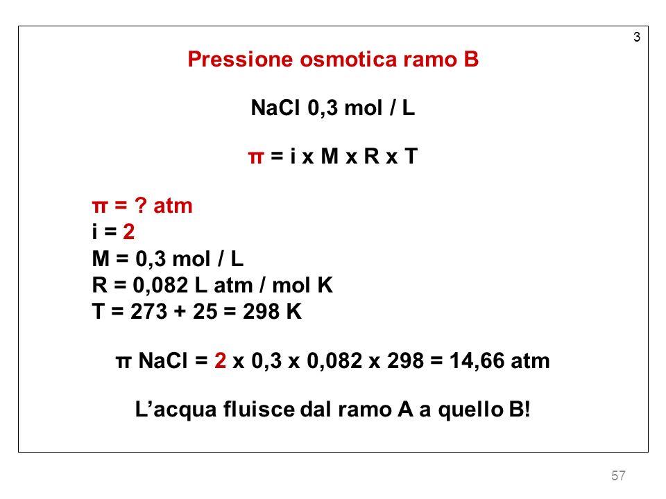 57 3 Pressione osmotica ramo B NaCl 0,3 mol / L π = i x M x R x T π = ? atm i = 2 M = 0,3 mol / L R = 0,082 L atm / mol K T = 273 + 25 = 298 K π NaCl