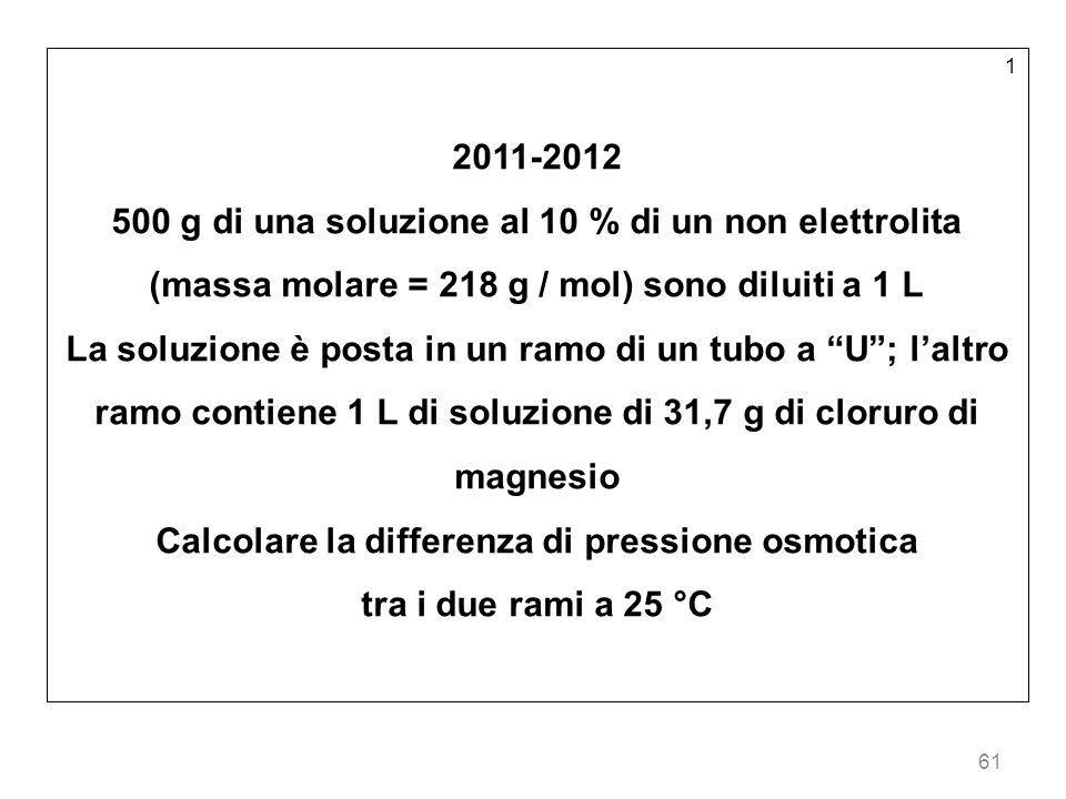 61 1 2011-2012 500 g di una soluzione al 10 % di un non elettrolita (massa molare = 218 g / mol) sono diluiti a 1 L La soluzione è posta in un ramo di