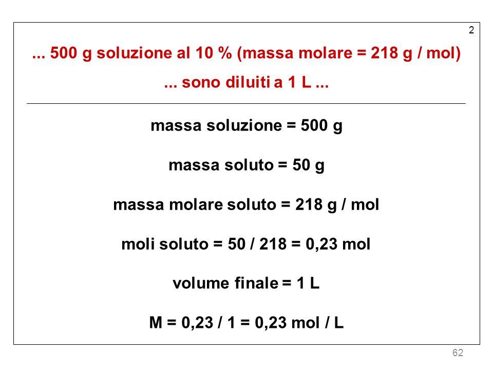 62 2... 500 g soluzione al 10 % (massa molare = 218 g / mol)... sono diluiti a 1 L... massa soluzione = 500 g massa soluto = 50 g massa molare soluto