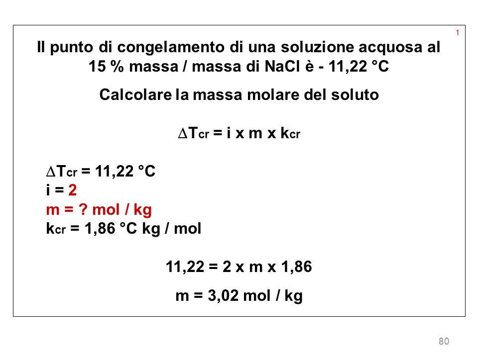 80 1 Il punto di congelamento di una soluzione acquosa al 15 % massa / massa di NaCl è - 11,22 °C Calcolare la massa molare del soluto T cr = i x m x
