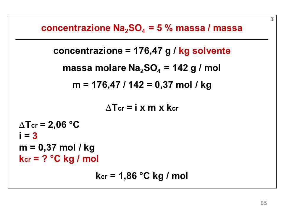85 3 concentrazione Na 2 SO 4 = 5 % massa / massa concentrazione = 176,47 g / kg solvente massa molare Na 2 SO 4 = 142 g / mol m = 176,47 / 142 = 0,37