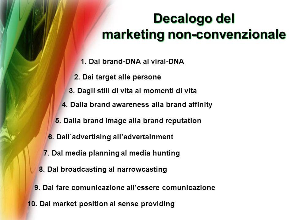 Decalogo del Decalogo del marketing non-convenzionale 1. Dal brand-DNA al viral-DNA 2. Dai target alle persone 3. Dagli stili di vita ai momenti di vi