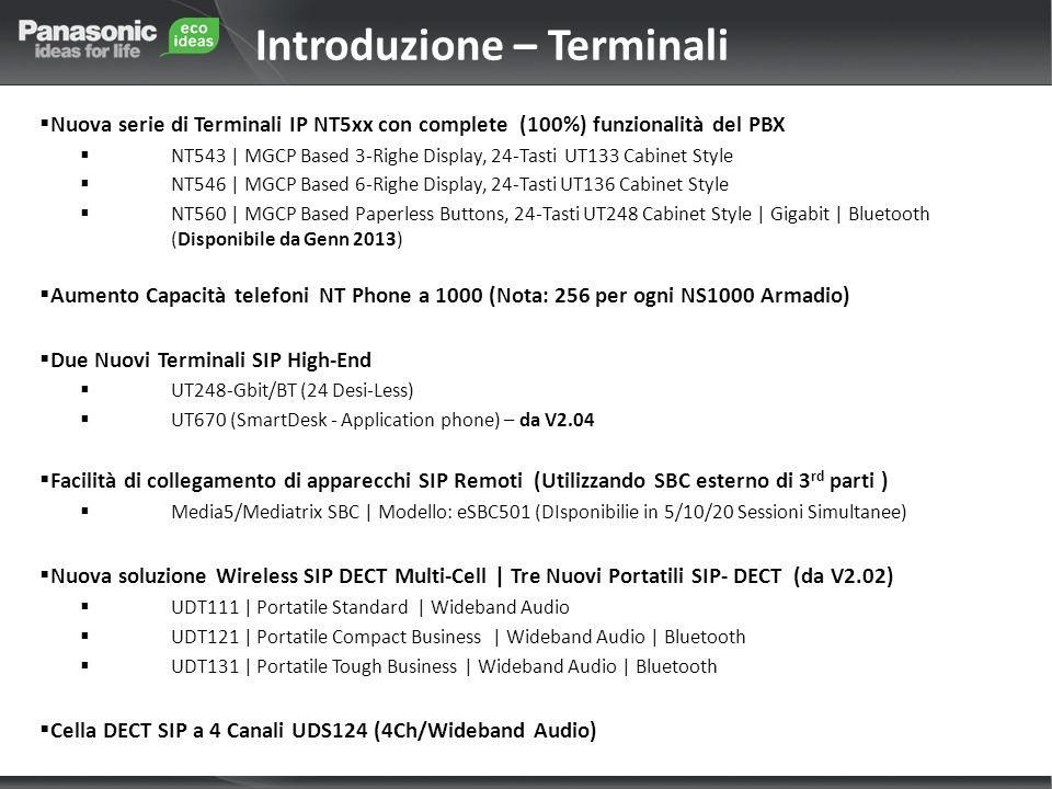 Nuova serie di Terminali IP NT5xx con complete (100%) funzionalità del PBX NT543 | MGCP Based 3-Righe Display, 24-Tasti UT133 Cabinet Style NT546 | MGCP Based 6-Righe Display, 24-Tasti UT136 Cabinet Style NT560 | MGCP Based Paperless Buttons, 24-Tasti UT248 Cabinet Style | Gigabit | Bluetooth (Disponibile da Genn 2013) Aumento Capacità telefoni NT Phone a 1000 (Nota: 256 per ogni NS1000 Armadio) Due Nuovi Terminali SIP High-End UT248-Gbit/BT (24 Desi-Less) UT670 (SmartDesk - Application phone) – da V2.04 Facilità di collegamento di apparecchi SIP Remoti (Utilizzando SBC esterno di 3 rd parti ) Media5/Mediatrix SBC | Modello: eSBC501 (DIsponibilie in 5/10/20 Sessioni Simultanee) Nuova soluzione Wireless SIP DECT Multi-Cell | Tre Nuovi Portatili SIP- DECT (da V2.02) UDT111 | Portatile Standard | Wideband Audio UDT121 | Portatile Compact Business | Wideband Audio | Bluetooth UDT131 | Portatile Tough Business | Wideband Audio | Bluetooth Cella DECT SIP a 4 Canali UDS124 (4Ch/Wideband Audio) Introduzione – Terminali