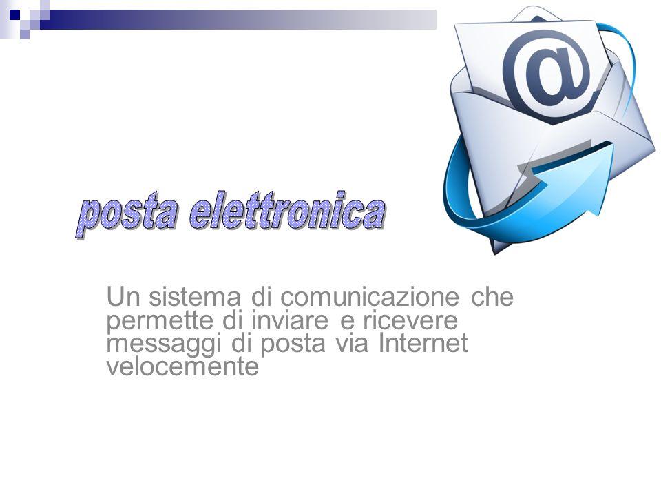 Un sistema di comunicazione che permette di inviare e ricevere messaggi di posta via Internet velocemente