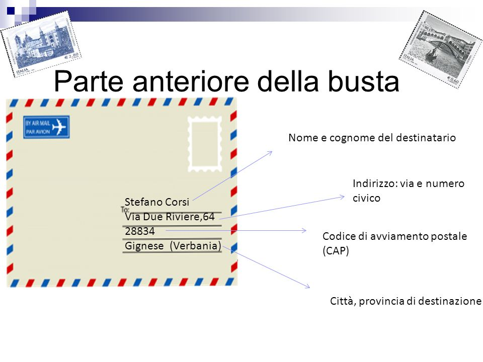 Parte anteriore della busta Stefano Corsi Via Due Riviere,64 28834 Gignese (Verbania) Nome e cognome del destinatario Indirizzo: via e numero civico C