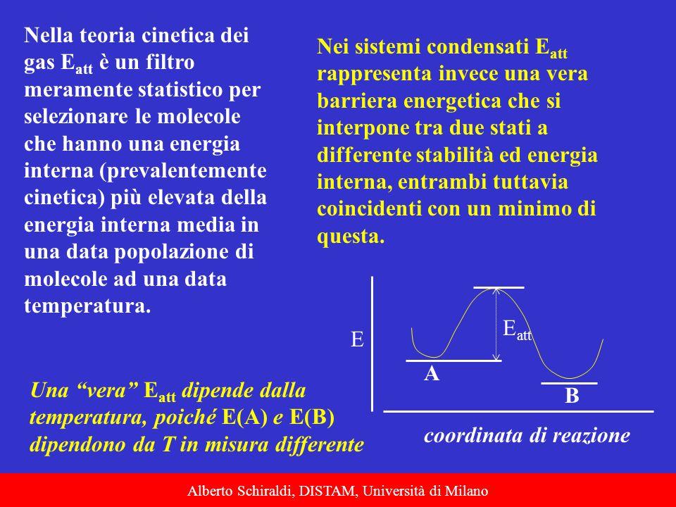 Alberto Schiraldi, DISTAM, Università di Milano Nella teoria cinetica dei gas E att è un filtro meramente statistico per selezionare le molecole che h