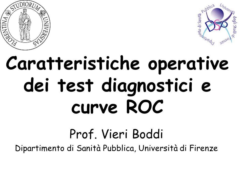 Caratteristiche operative dei test diagnostici e curve ROC Prof. Vieri Boddi Dipartimento di Sanità Pubblica, Università di Firenze